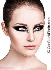Beautiful stylish woman with smokey eyes - Portrait of ...