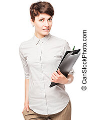 beautiful successful woman office worker with a folder in his hands posing on a white