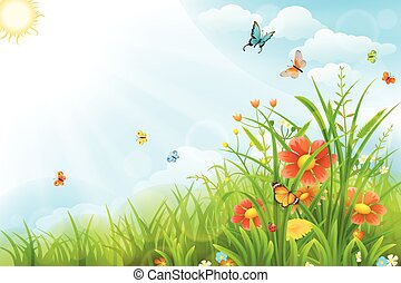 Beautiful summer background with green grass, flowers and...