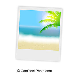 Beautiful summer background with instant photos, beach, sea, sun and palm tree Vector illustration