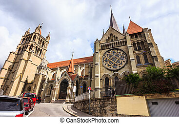 Beautiful summer day view of Lausanne Cathedral of Notre...