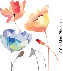 Beautiful summer flowers, watercolor illustration