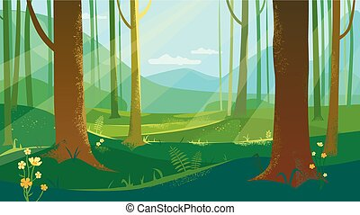 Summer Forest Landscape With Flowers