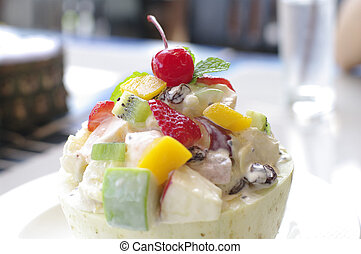 fruit salad in cantaloupe