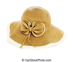 Beautiful summer hat isolated on white background.