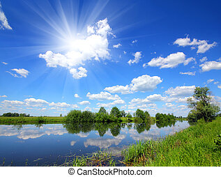 beautiful summer lake landscape