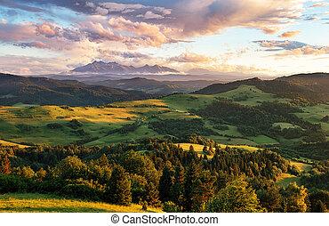 Beautiful summer landscape in mountains - Pieniny / Tatras, Slovakia