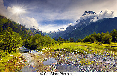 Beautiful summer landscape in the Caucasus mountains. Upper ...