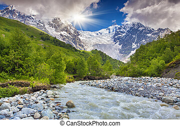 Beautiful summer landscape in the Caucasus mountains.