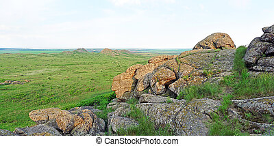Beautiful summer landscape in the mountains (Stone Tombs), panorama