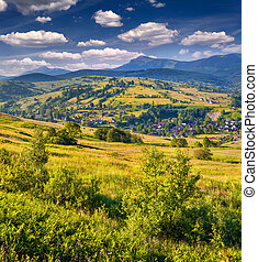 Beautiful summer landscape in the mountains village