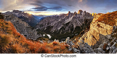 Beautiful summer landscape in the mountains with the sun at dawn