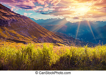 Beautiful summer landscape of the Italian Alps, Dolomites, ...