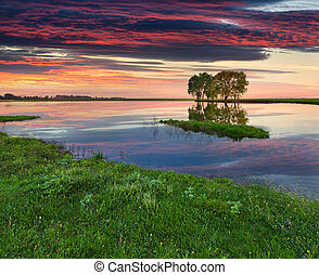Beautiful summer landscape on the river.
