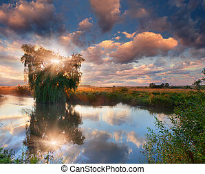 Beautiful summer landscape on the river. Sunrise