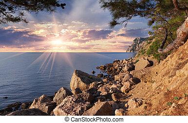 Beautiful summer landscape on the sea. Sunrise