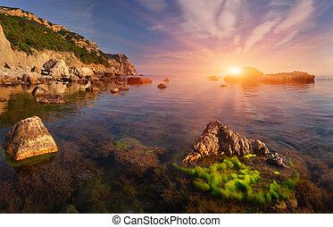Beautiful summer landscape on the sea. Sunset