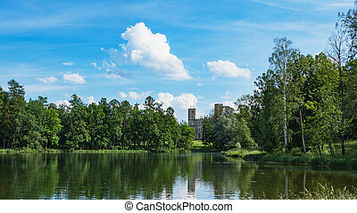 Beautiful summer landscape with a pond near the old Palace. Gatchina. Russia