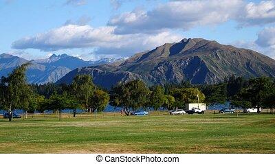 Wanaka, New Zealand - Beautiful summer morning at Wanaka,...