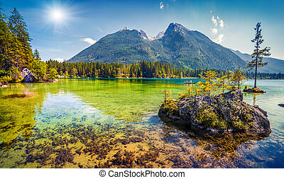Beautiful summer morning on the Hintersee lake