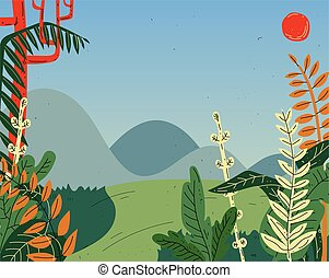Beautiful summer nature landscape with mountains, hills, field, meadow.