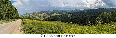 Beautiful summer panorama of the road in Altai Mountains