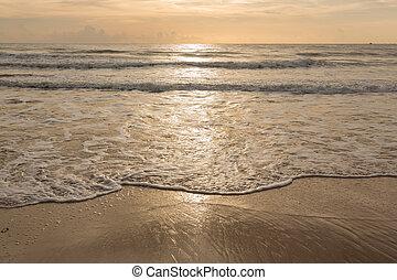 beautiful summer sand beach and sea surf