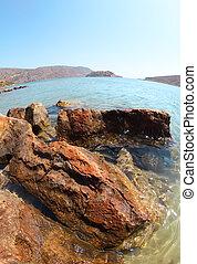 Beautiful summer sea landscape. Elounda, Crete