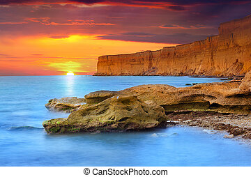 Beautiful summer seascape. Sunrise