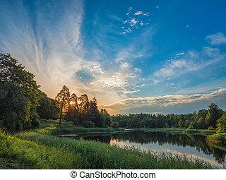 Beautiful summer sunset by the lake. Sky perfect reflection on northern lake