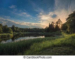 Beautiful summer sunset by the lake, Sky perfect reflection on northern lake