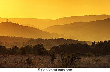 Beautiful summer sunset. Crimea landscape