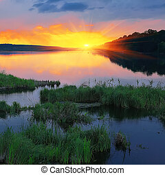 Beautiful summer sunset in the lake