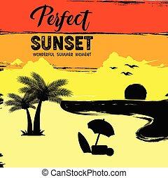 beautiful summer sunset on the beach