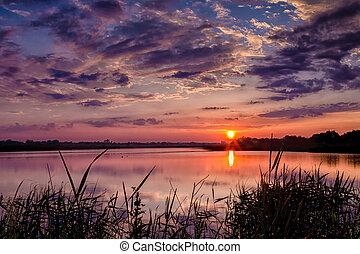 Beautiful summer sunset on the lake