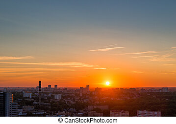 beautiful summer sunset over the great metropolis