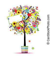 Beautiful summer tree in pot for your design