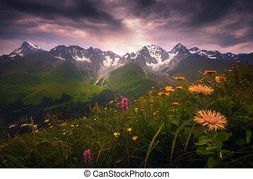 View of the Caucasus mountain range in Racha, Georgia