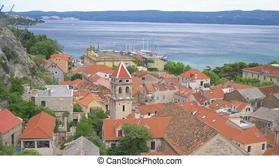 Beautiful summer view on the old town Omis in Croatia.