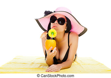 beautiful summer woman wear pink hat, black bikini swimsuit,...