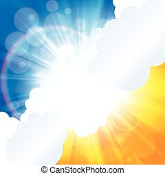 Beautiful sun ray in the clouds orange blue background