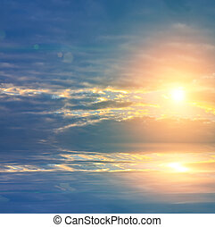 Beautiful sun rise in blue sky