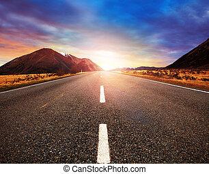 beautiful sun rising sky with asphalt highways road in rural...
