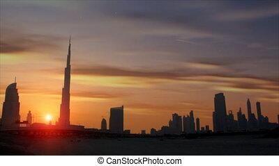 beautiful sundown dubai burj khalif - DUBAI - SEPTEMBER 8: A...