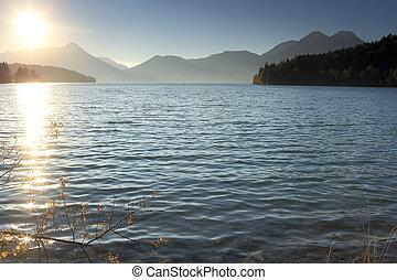beautiful sundown on a lake