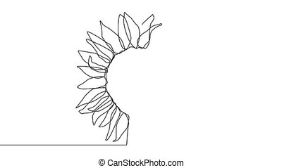 Beautiful sunflower. Continuous line drawing. minimalist ...