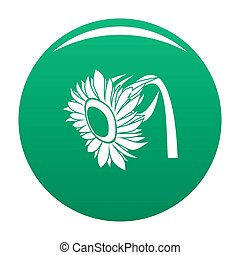 Beautiful sunflower icon green