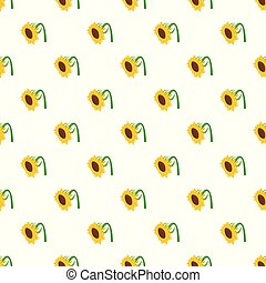 Beautiful sunflower pattern seamless vector