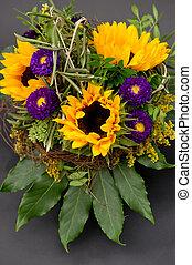 beautiful sunflowers bouquet on black