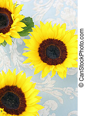 Beautiful sunflowers on fabric background, top view.